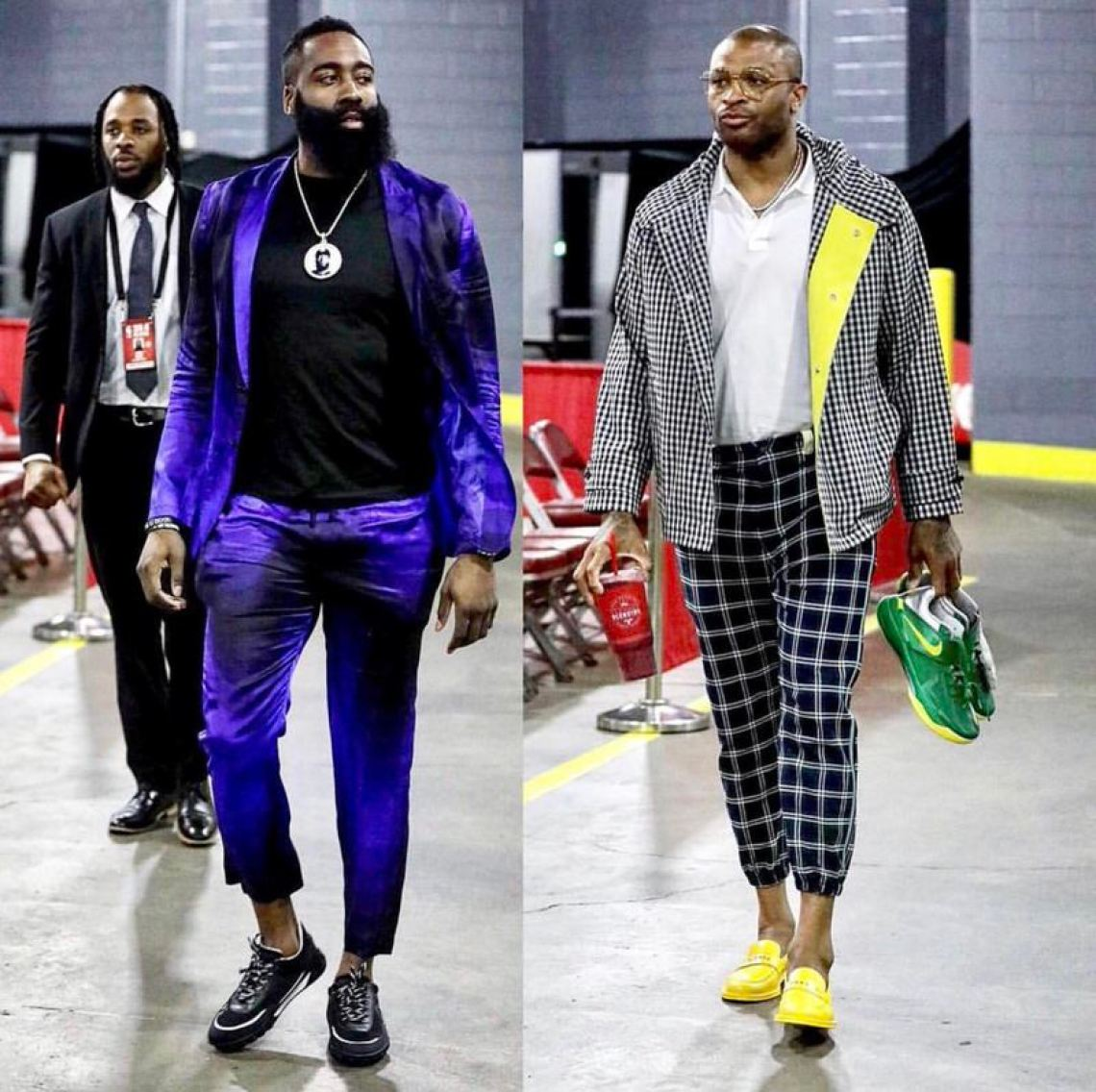 Vibrant colors and a loose cropped fit are the keys to winning pre-game style in the NBA Playoffs this year.
