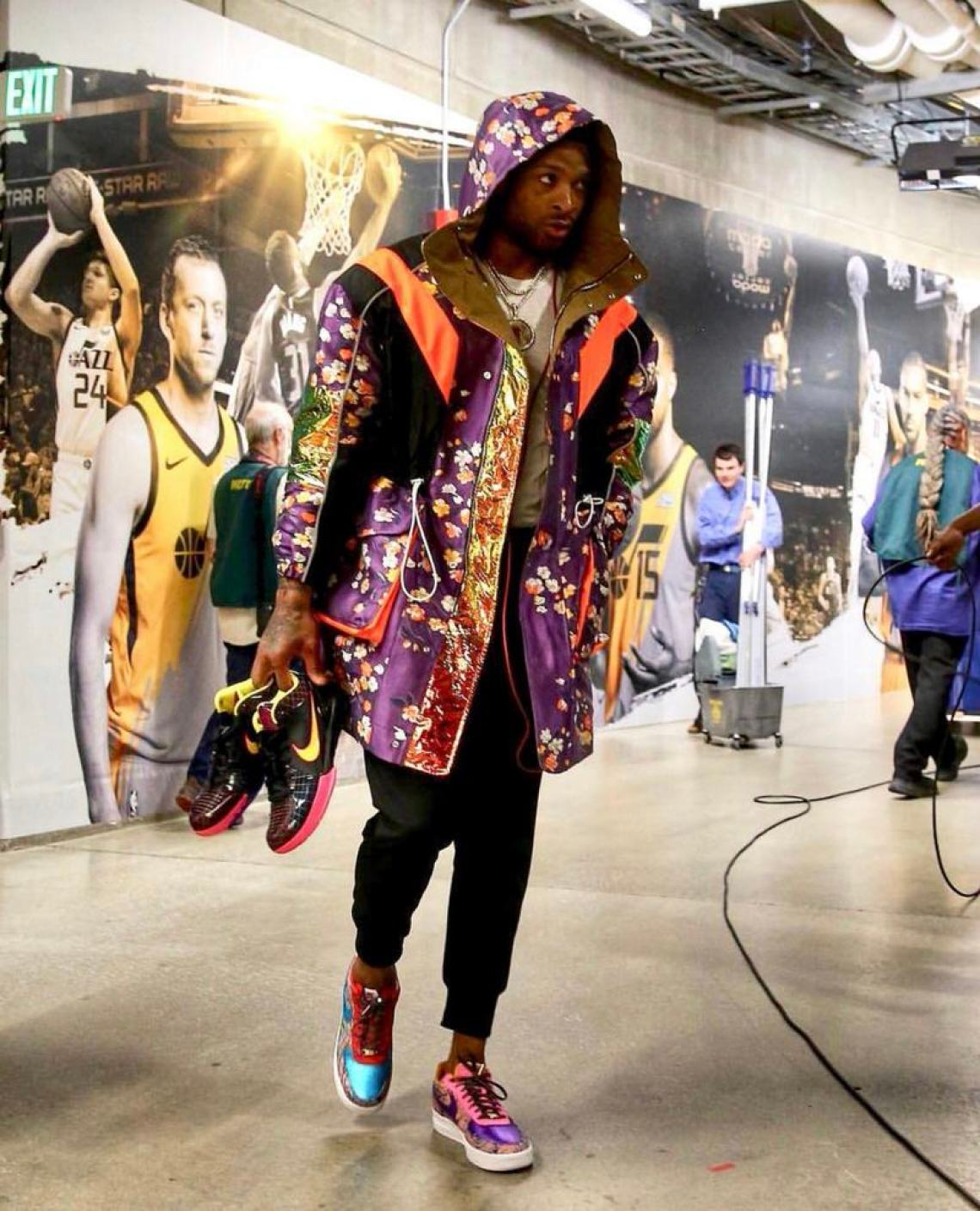 The more color the better. PJ Tucker has been going all-out this season for pre-game fits.
