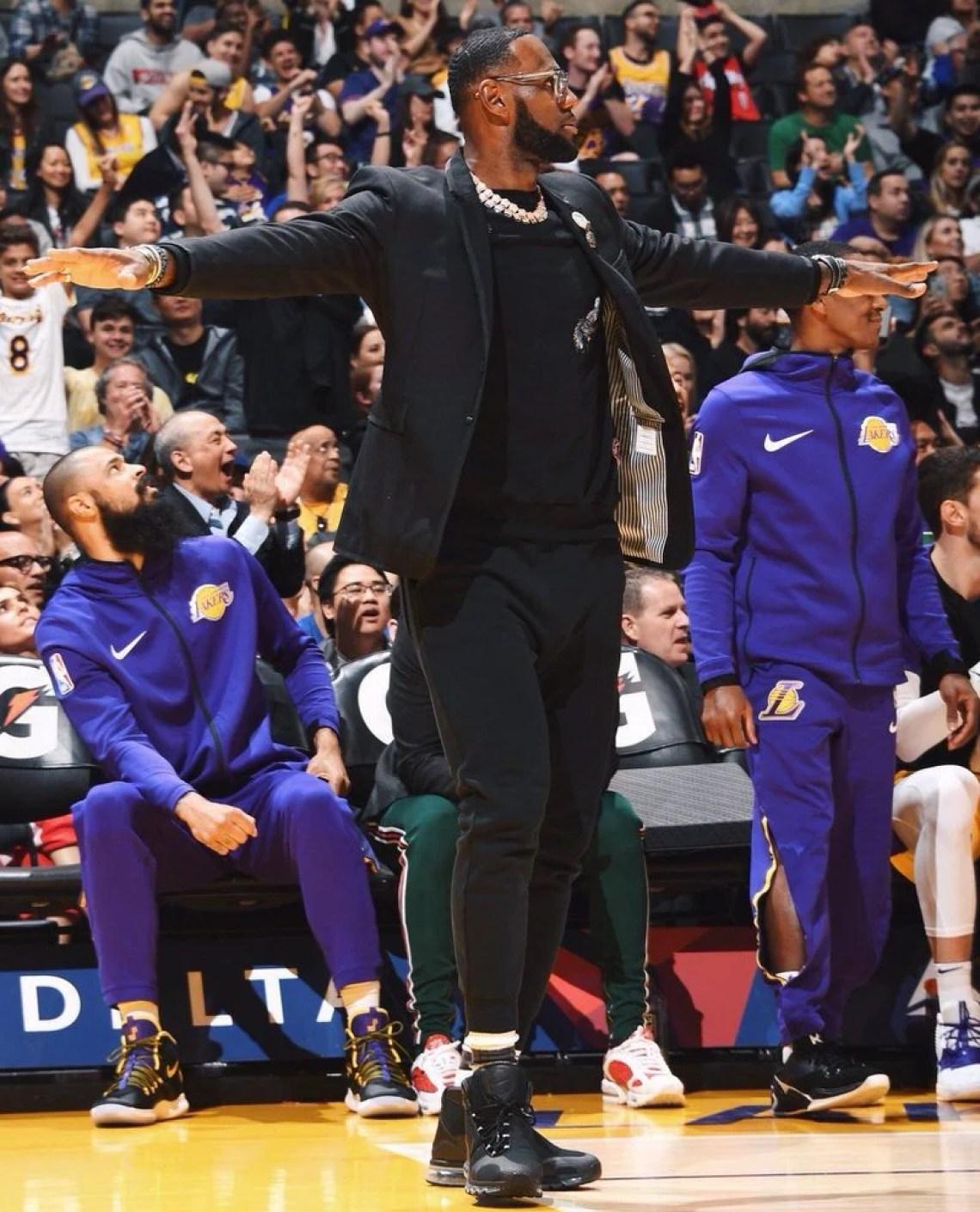 "ec6b7037ab8 ... LeBron James in the Nike Air Max 360 High ""Kim Jones"" (Andrew D.  Bernstein NBAE via Getty Images)"