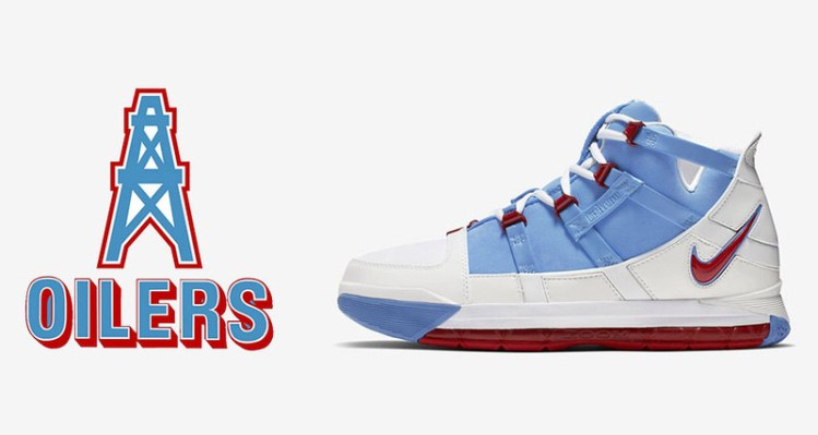 "premium selection 8a8dd 331e3 Nike LeBron III ""Houston Oilers"" PE Makes Its Retro Debut"