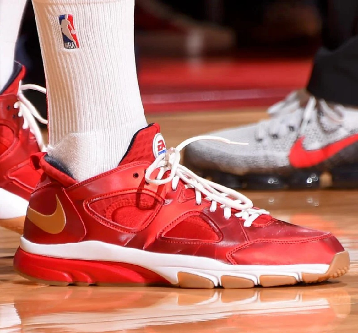 "new style 7effe 23a74 ... PJ Tucker in the EA Sports x Nike Zoom Huarache Trainer Low ""Fight  Night"" (photo by Bill Baptist via Sole Collector)"