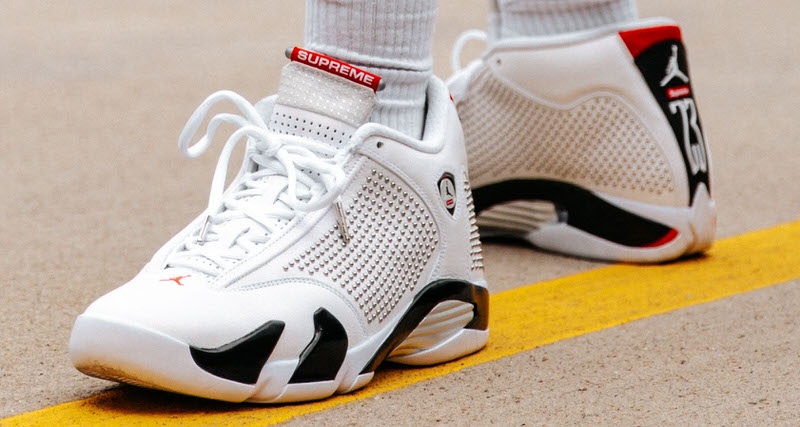 wholesale dealer a71f5 ad61c An On-Foot Look at the Supreme x Air Jordan 14