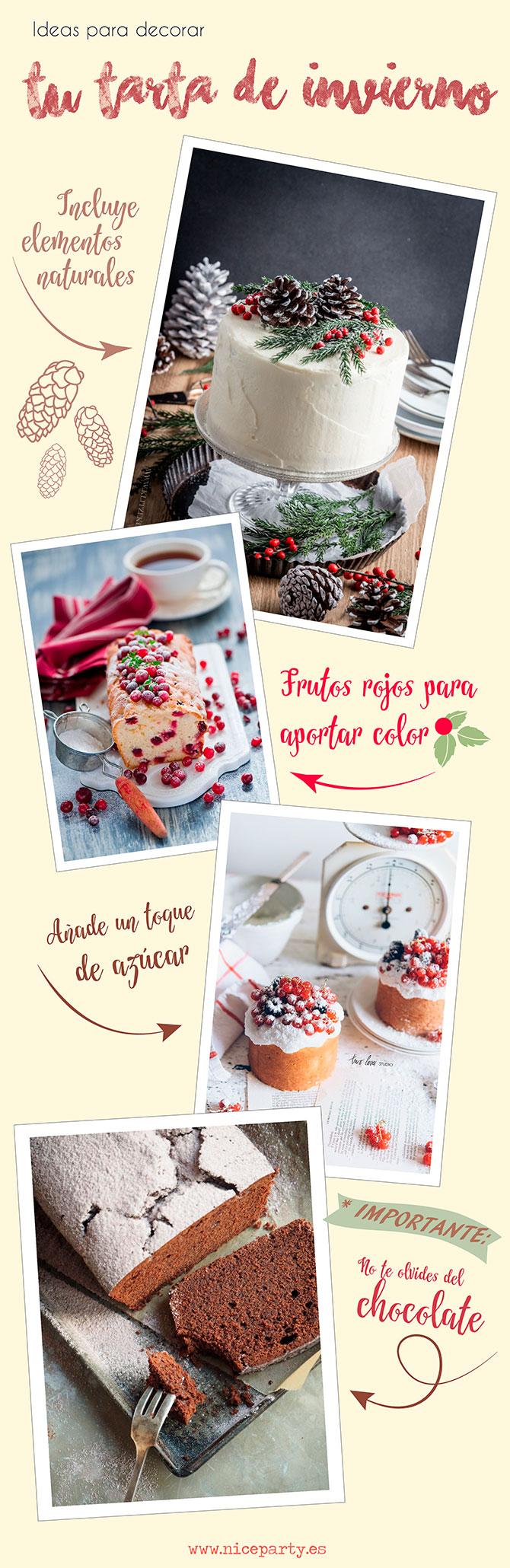 Nice Party ideas para decorar tu tarta de invierno
