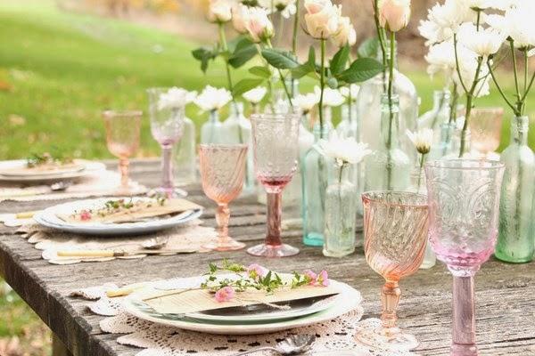 Decoración de mesa vintage romántica