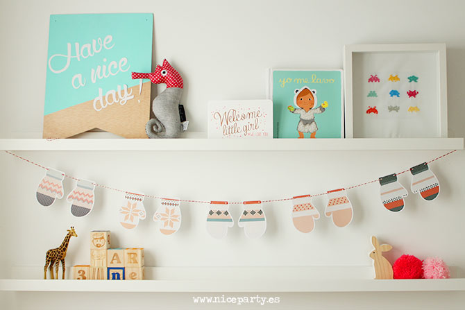 NiceParty Digital imprimible guirnalda de manoplas Printable mittens garland