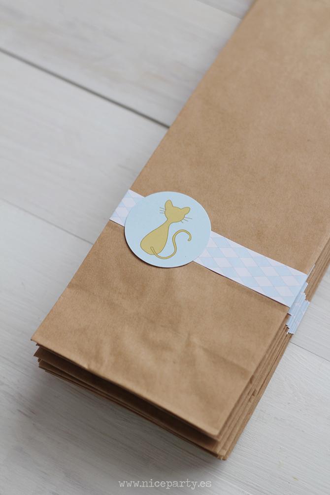 Nice Party Nice Box comunión gato azul y blanco bolsa personalizada kraft