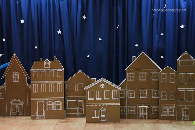 Nice Party: Decoración fiesta de Los Reyes Magos: Casas de cartón, Fachadas de cartón y tiza