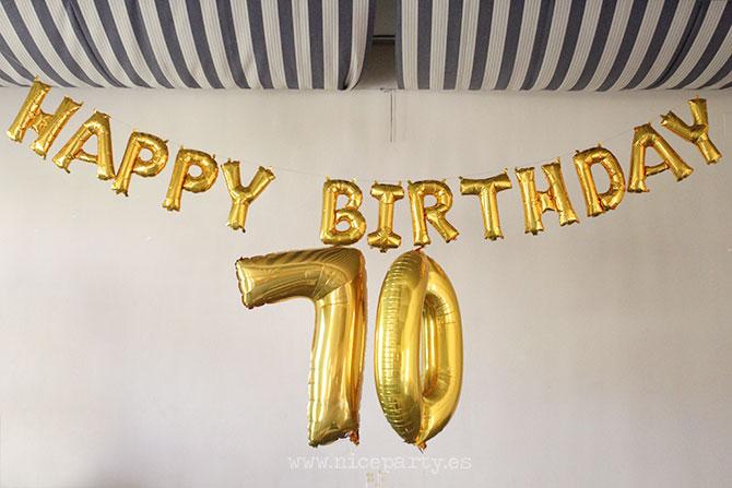 Nice Party fiesta 70 cumpleaños decoración y mesa de dulces dorado (3)