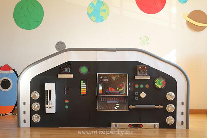 Nice Party fiesta espacial imprimible panel de mandos de la nave