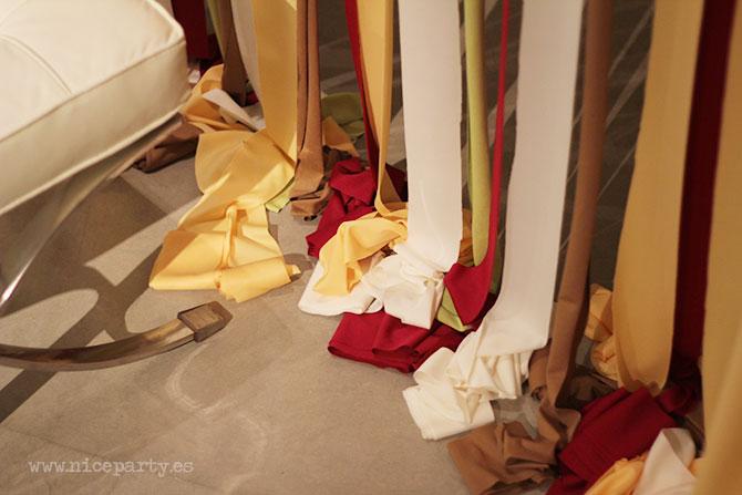 Nice Party fondo decorativo para boda con cintas de tela y pompones (3)