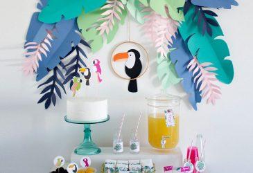 DIY Hojas de papel de la fiesta tropical