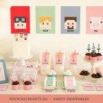 Cumpleaños minecraft en rosa y mint