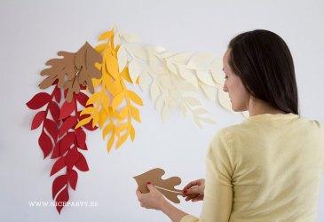 DIY Un fondo de hojas de otoño con cartulina