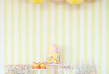 Inspiración: Una mesa de dulces en rosa y amarillo
