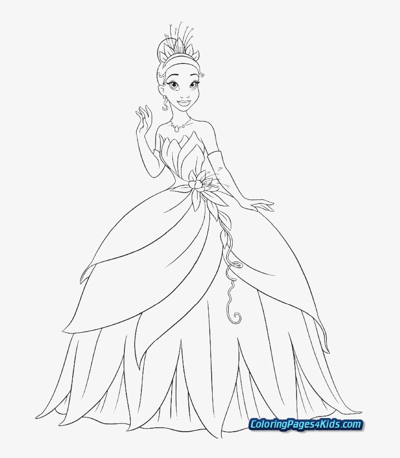 Coloring Pages Of Tiana Disney Princess Coloring Pages Tiana Transparent Png 700x861 Free Download On Nicepng