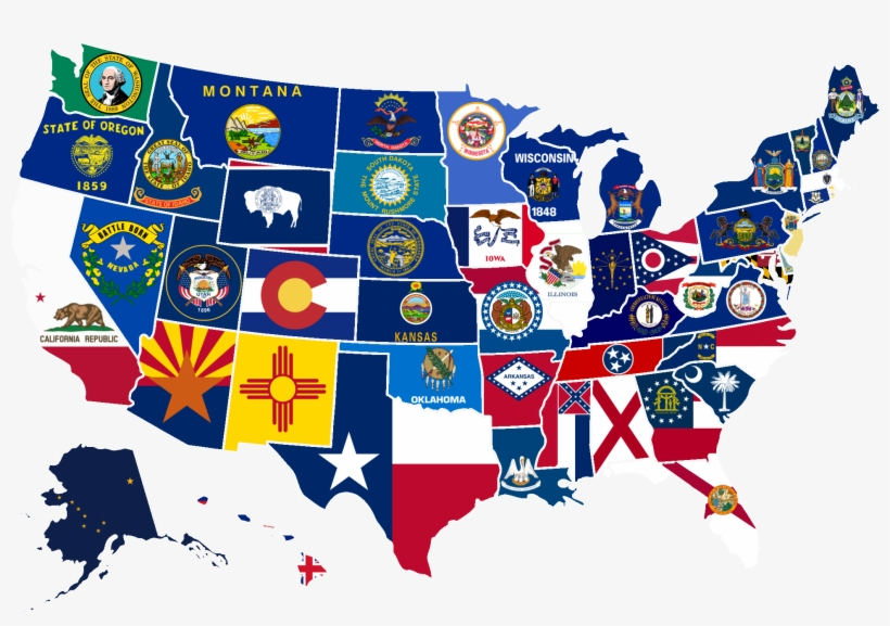 We look at a few excerpts to see how much we're driving and what we're eating. 869kib 2000x1333 Us Map With State Flags Project Usa State Flags Map Sticker Transparent Png 2000x1333 Free Download On Nicepng