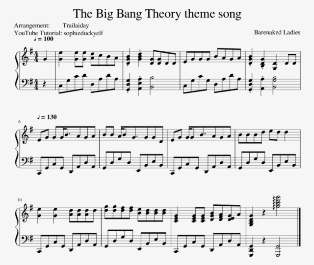 The Big Bang Theory Theme Song Sheet Music Composed Music