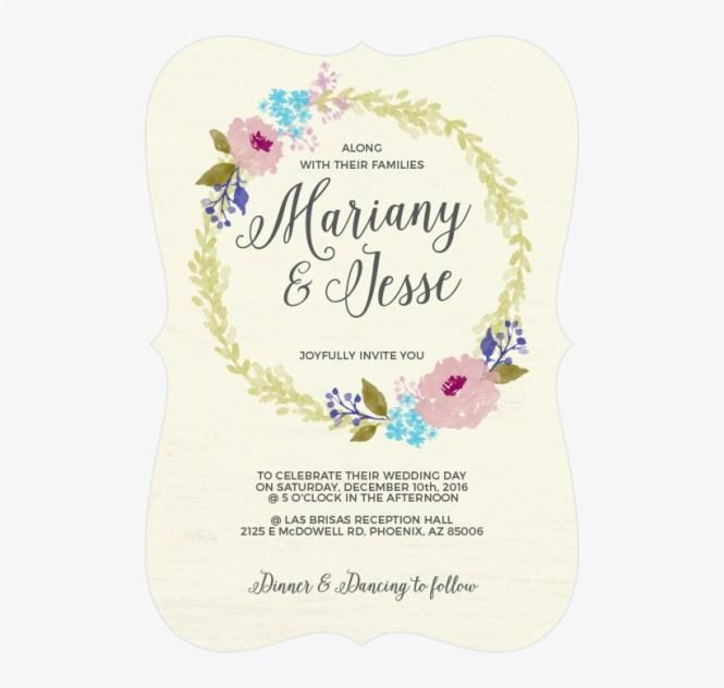 Watercolor Wreath Wedding Invitations