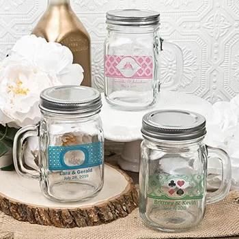 12 Ounce Personalized Glass Mason Jar With Handle And