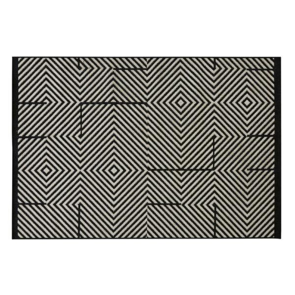 tapis d exterieur en polypropylene noir et beige 160x230