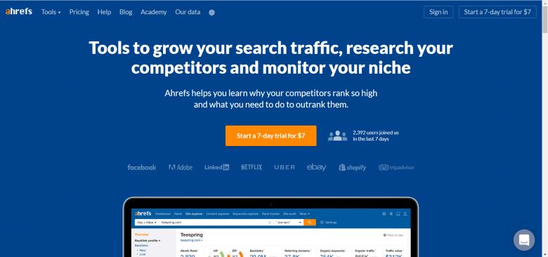 home page di ahrefs