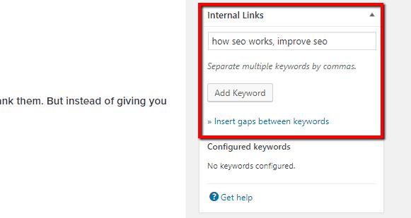 internal link juicer set keywords