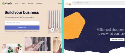 Immagine in primo piano di Shopify vs Etsy