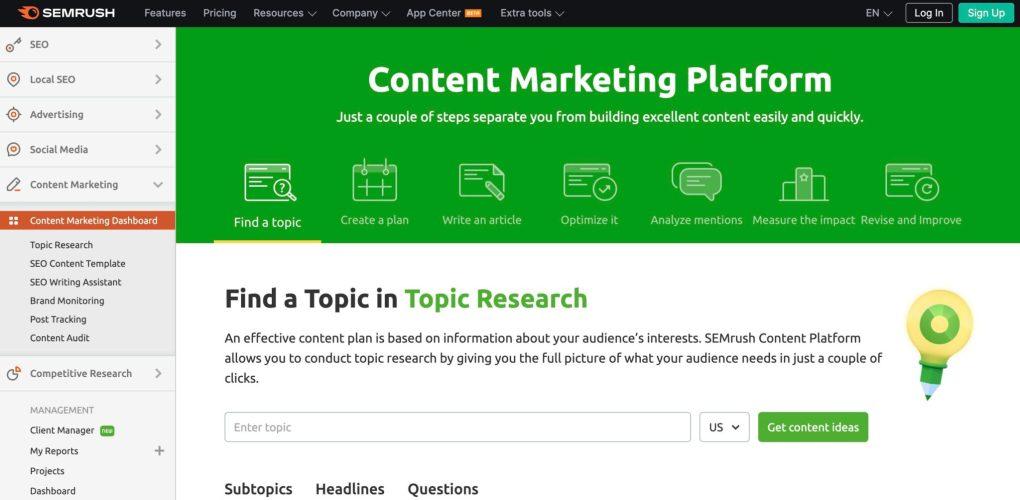 SEMrush website content optimization