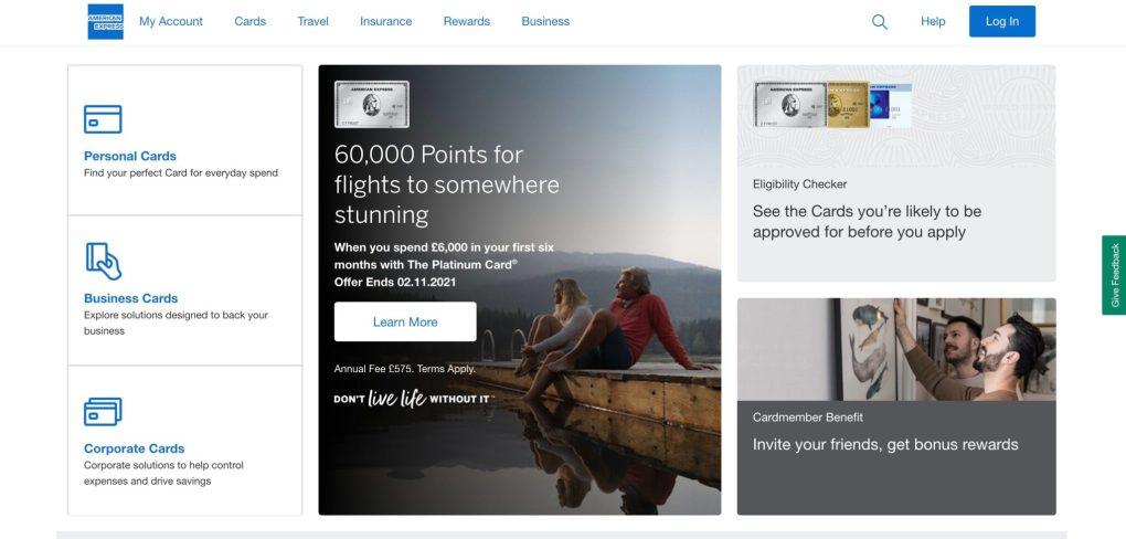 American Express website homepage