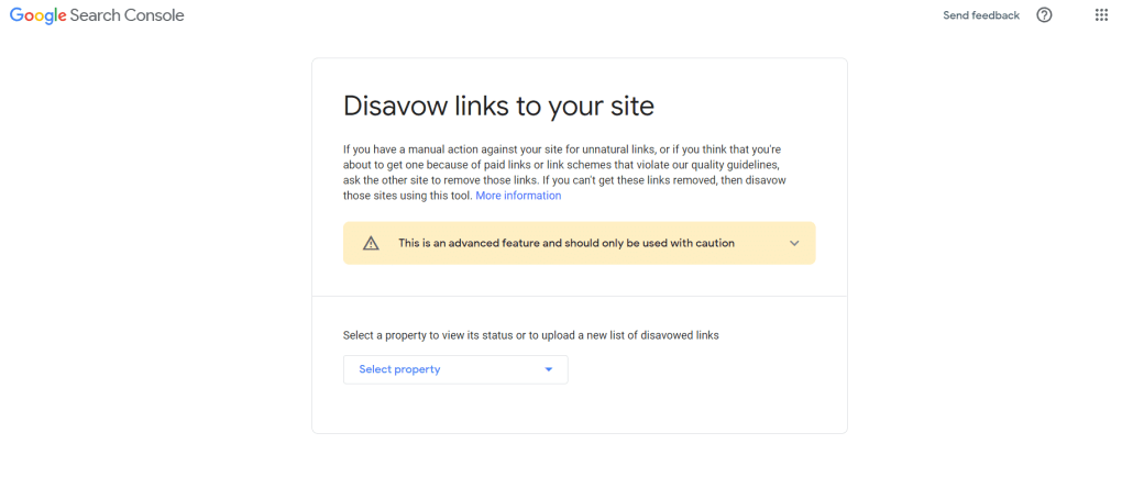 Screenshot of Google Search Console disavow tool.