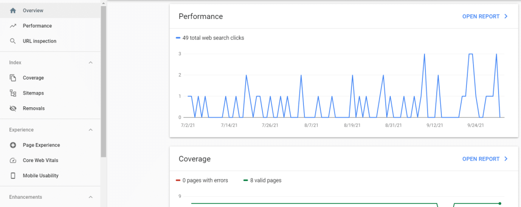 Google search console overview information.