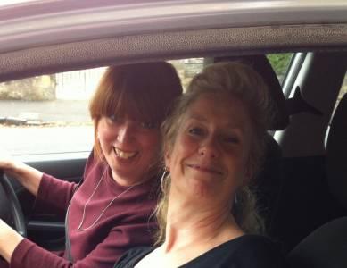 Nichola and Zoë in transit