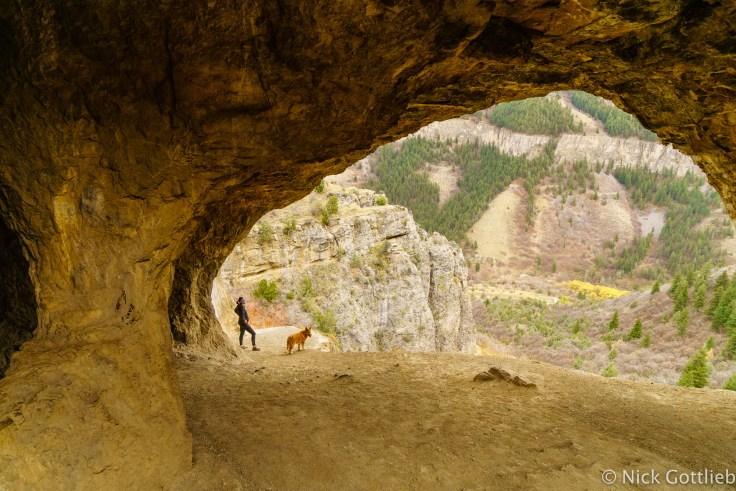 The cave sits perched on top of a limestone cliff band and has epic views of Logan Peak on the other side of the canyon.