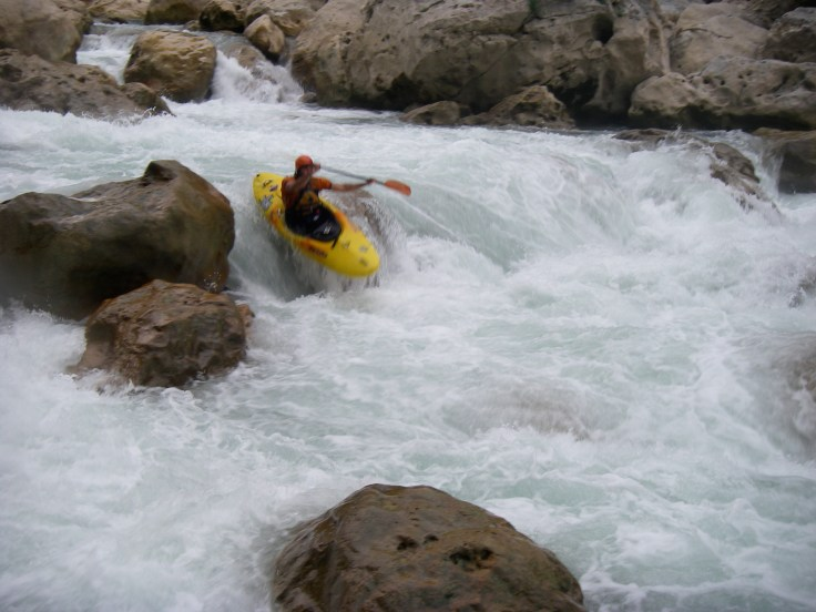 Jeff Hazboun in one of the bigger rapids of the Santa Maria.