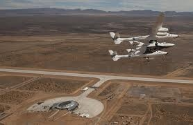 Virgin Galactic's WhiteKnight's first flight over Spaceport America