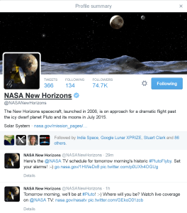 New Horizons Twitter Profile