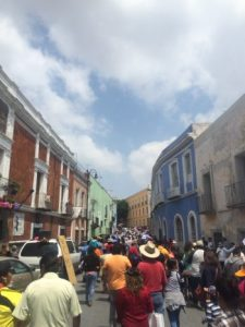 Heading downtown with the locals in Puebla