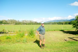 Bill O'Donnell in the field where his peach and nectarine orchard used to be