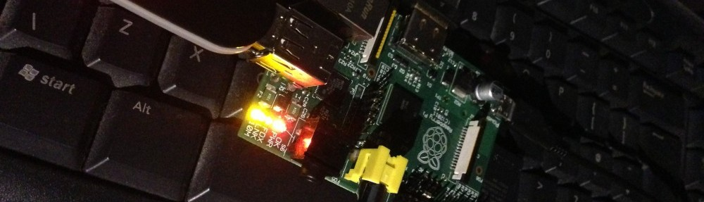 Raspberry Pi connected to Ethernet, HDMI and a USB Memory stick, booting from an SD Card.