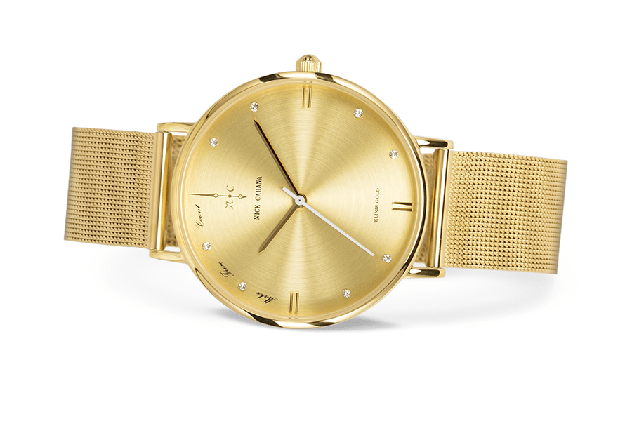 Nick Cabana Elixir Gold womens watch in gold with swaroski crystals and mesh watchband