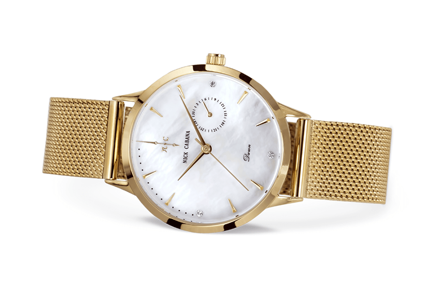 Nick Cabana Nilaya Dawn womens watch in gold with dial of Mother of pearl