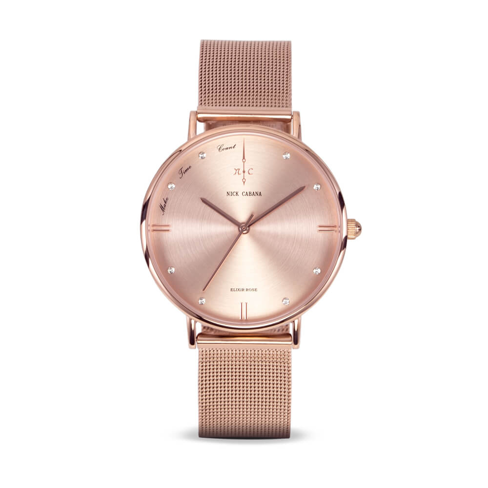 Nick Cabana Elixir Rose womens watch in rose gold with swaroski crystals and mesh watchband