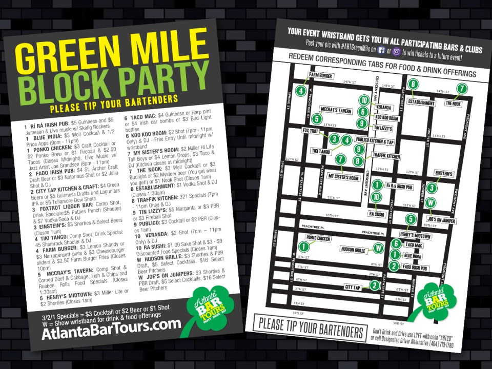 Atlanta Bar Tours - Green Mile Block Party Map Design - Infograhpic