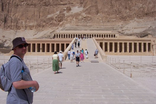 Outside the entrance to Hatshepsut's Temple.