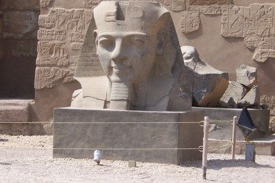 Massive stone head at the entrance to Luxor Temple.