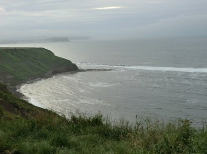 View towards Scarborough from Filey camp site. The tent campers were used to shelter the already protected caravanners.