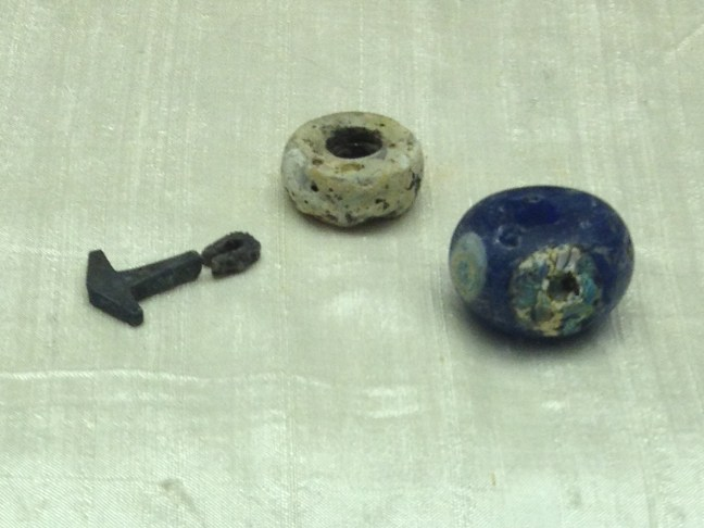 Thor's Hammer and bead necklace from the Repton Viking Warrior's grave