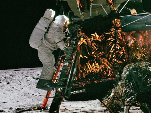 Alan Bean on the ladder of Lunar Module Intrepid