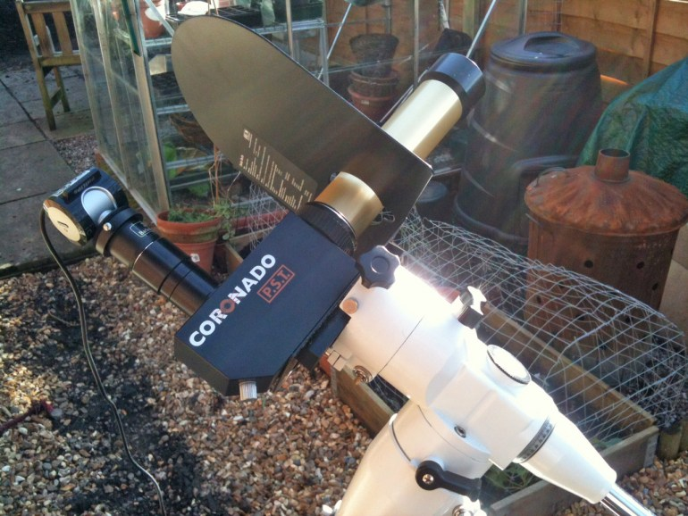 Coronado PST telescope with a Philips SPC900 webcam