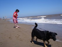 Sam & Lucky on the beach at Skegness